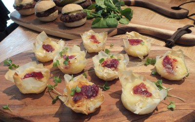 Canape angus burgers and brie and cranberry bites.