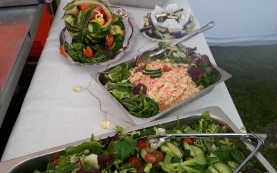 fresh mixed salads, homemade coleslaw and apple sauce