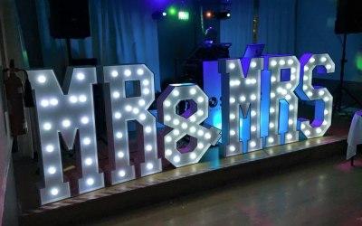 Giant LED Mr & Mrs Wedding Letters For Hire www.soundofmusicmobiledisco.com