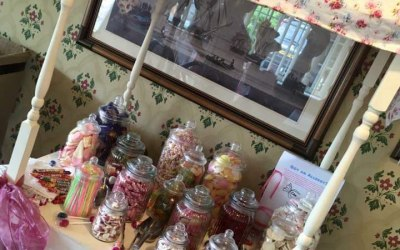 Self hire sweet cart with all jars and utensils.