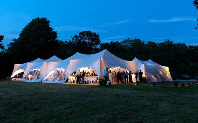 Capri marquees connected for wedding reception