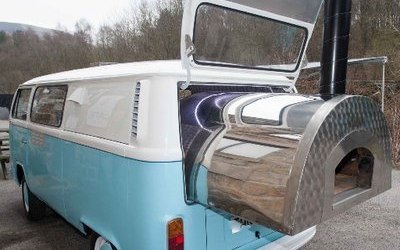 VW camper van with wood fired oven