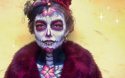 "The ever popular ""Dia de las Muertos"" Day of the Dead face paint. Save yourself the hassle and stress and just hire Painted Peach to do yours and arrive fabulous, not flustered!"