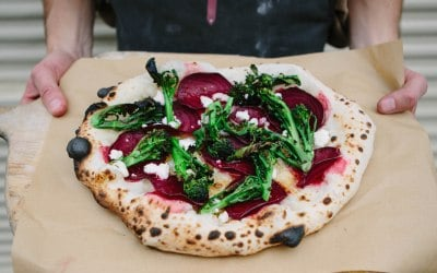 Tenderstem brocolli and beetroot with goats cheese