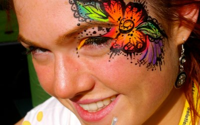 Neon UV Henna Flower Festival Eye Design by London Face Painter Happy Canvas