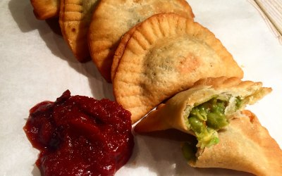 Pea pastizzi with middle eastern ketchup
