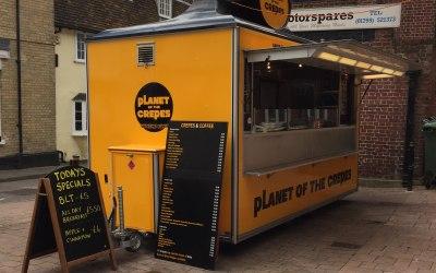 Planet of the Crepes mobile catering van at Saffron Walden Market Essex