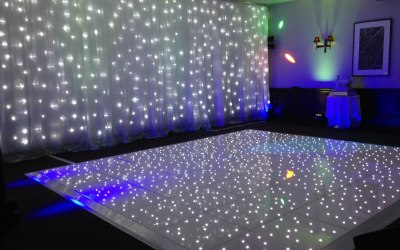 Dancefloor, twinkle backdrop and Uplighters
