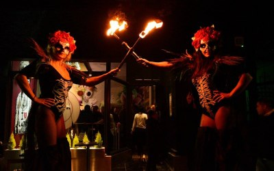 Halloween Themed Fire Performers