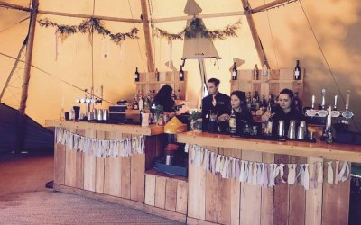 Our rustic bar in a beautiful tipi wedding