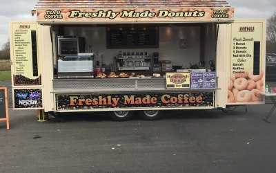 Hot fresh do nuts, specialty coffee, tea, hot chocolate and danish