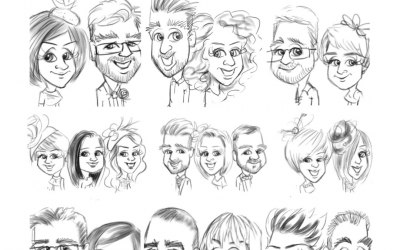 black and white line caricature sketches of your guests.
