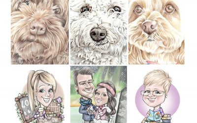 commission artwork for your event in traditional pencil or more up to the minute digital cartoons