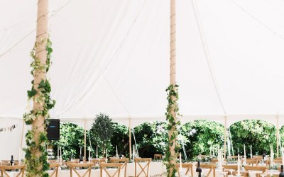 Interior of traditional wedding marquee