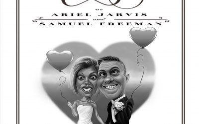 Why not personalise your Wedding Invitations with a caricature of the happy couple?