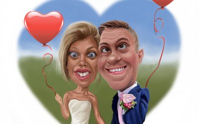 Caricatures can be utilized on things like Wedding invitations, etc.