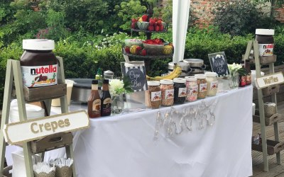 Jazzy Scrumptious Parties Mobile Creperie - Sweet Waffle Bar for a 250 person Wedding in Painshill Wedding Conservatory