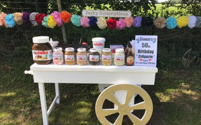 Jazzy Scrumptious Parties Mobile Creperie Cart - Sweet Crepes for a 50th Birthday