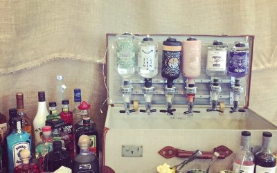 Our vintage gin suitcase bar at Burnhopeside hall in Lanchester