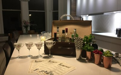 our vintage Martini teacup glasses and cocktail suitcase bar in a clients home