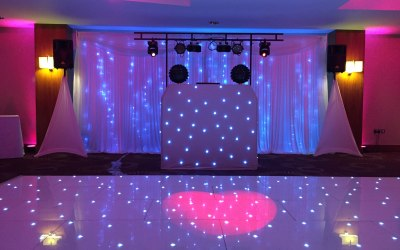 Gold Package set-up at Ramada Plaza, Southport. Please note: Backdrop and dance floor supplied by venue.