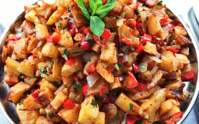 Batata Harra (spicy potato) traditional Lebanese dish
