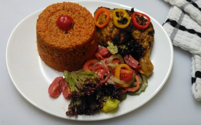 Classic Jollof Rice, Grilled Chicken Leg with Mixed Salads.