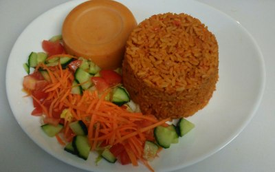 Jollof Rice with Moi Moi (Beans Cake)