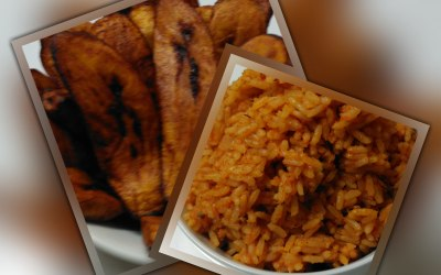 Jollof Rice with Fried Ripe Plantain.