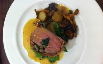 Fillet of veal stuffed with truffled mushrooms, spinach and wrapped in parma ham with a potato and mushroom sauté, truffle jus