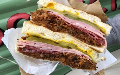 The Cuban! Salami, ham, pulled pork, cheese, pickles & American mustard - yum!