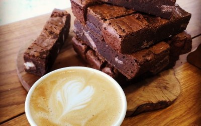 Delicious coffee & naughty, homemade Chocolate Orange brownies!