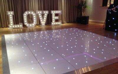 Star Lit Dance Floor & LOVE Letter Hire Staffordshire