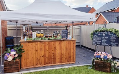 Single bar and tent setup for Birthday Garden party:)