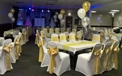 venue dressing chair covers,linen,balloons,lots more,leeds