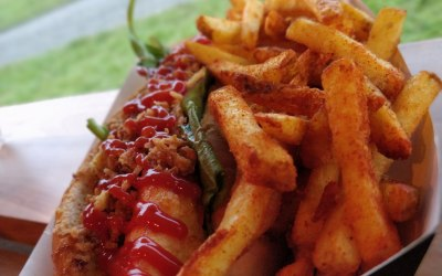 Halloumi Hotdog and Fries