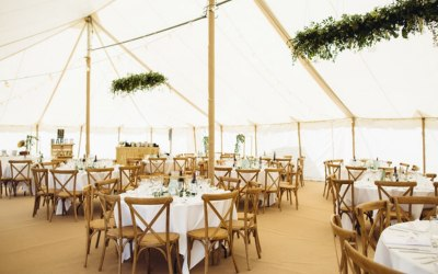 Traditional Marquee without linings to create a more vintage chic/rustic theme