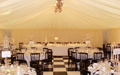 Lighting truss and black and white dance floor for your marquee
