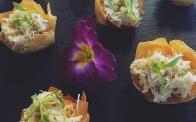 Dressed crab filo tartlets