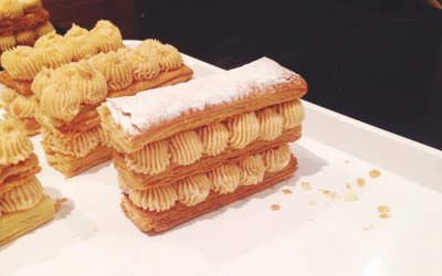 Salted caramel mousse millefeuille