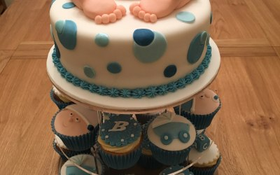 Boy's baby shower cake and cupcakes