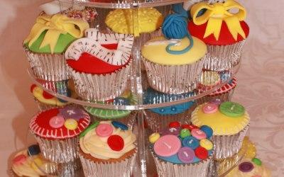 Sewing Themed Vanilla Cupcakes