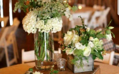 Barn style centrepieces