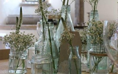 Vintage bottle display- Elizabeth Weddings