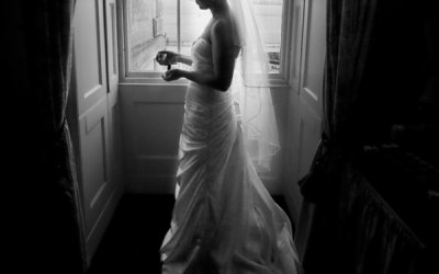 Bride taking a moment to remember the day