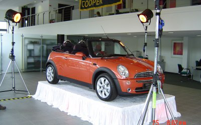 A mini convertible, on a MFX stage & some film set lighting