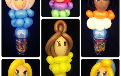 Balloon Candy Cups are a fun alternative to party bags. Princess examples pictured, hundreds of designs to choose from