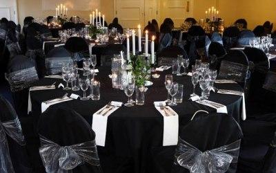 Black Stretch Chair Covers + Silver Organza Sash