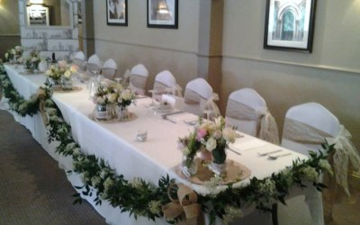 White Stretch Chair Covers + hessian & Lace Sash