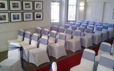 White Stretch Chair Covers + Navy Organza Sash